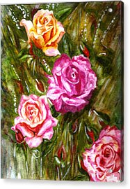 Acrylic Print featuring the painting Roses by Harsh Malik