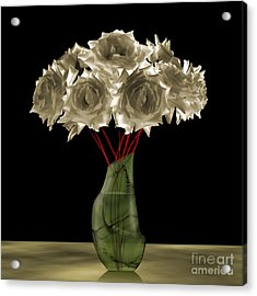 Roses In Green Vase Acrylic Print by Johnny Hildingsson