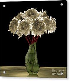 Roses In Green Vase Acrylic Print