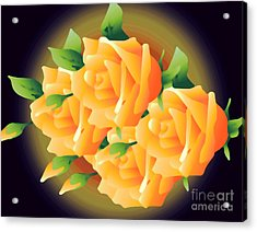 Roses In Sunset Acrylic Print by Gayle Price Thomas