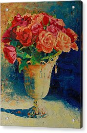 Roses In Wire Vase Acrylic Print