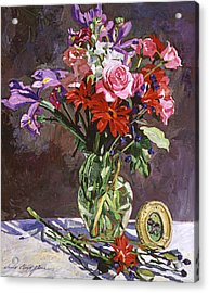 Roses Irises And Gerbras Acrylic Print