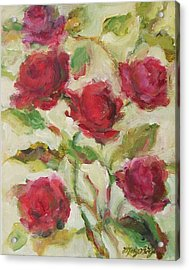 Acrylic Print featuring the painting Roses by Mary Wolf