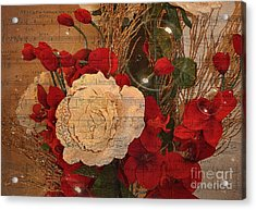 Roses Music Bubbles And Love Acrylic Print by Kathy Baccari