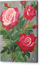 Acrylic Print featuring the painting Roses N' Rain by Sharon Duguay