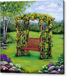 Roses On The Arbor Swing Acrylic Print by Sandra Estes