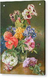 Roses Poppy And Pelargonia Acrylic Print by James Holland