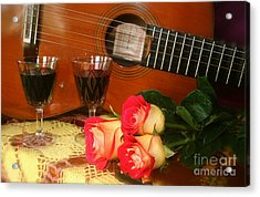 Guitar 'n Roses Acrylic Print by The Art of Alice Terrill