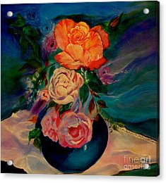 Acrylic Print featuring the painting Roses Roses Roses by Jenny Lee