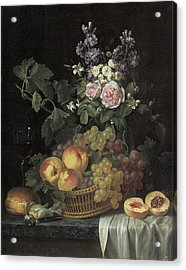 Roses Stocks Jasmine And Other Flowers In A Vase Acrylic Print by Jean-pierre-xavier Bidauld