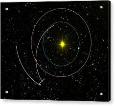 Rosetta Spacecraft Approaching Asteroid Acrylic Print by European Space Agency/c. Carreau
