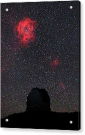Rosette Nebula And Telescope Acrylic Print by Babak Tafreshi