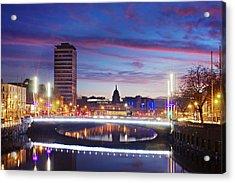 Acrylic Print featuring the photograph Rosie Hackett Bridge - Dublin by Barry O Carroll