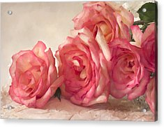 Acrylic Print featuring the photograph Rosy Elegance Digital Watercolor by Sandra Foster
