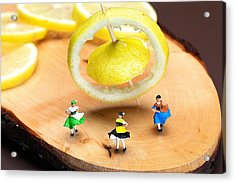 Acrylic Print featuring the photograph Rotating Dancers And Lemon Gyroscope Food Physics by Paul Ge