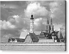 Rothenburg Towers In Black And White Acrylic Print
