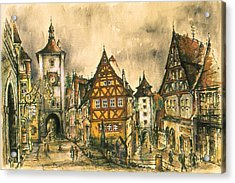 Rothenburg Bavaria Germany - Romantic Watercolor Acrylic Print