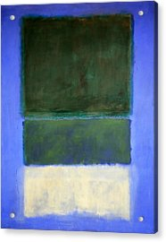 Rothko's No. 14 -- White And Greens In Blue Acrylic Print