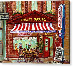 Rotisserie Le Chalet Bbq Restaurant Paintings Storefronts Street Scenes Diners Montreal Art Cspandau Acrylic Print