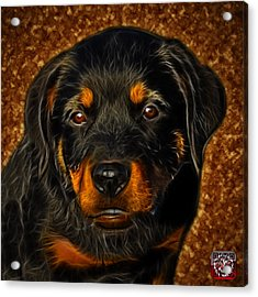 Acrylic Print featuring the painting Rottweiler Pop Art 0481 - Bc1 - Orange by James Ahn