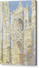 Rouen Cathedral West Facade Acrylic Print by Claude Monet