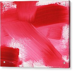 Rouge 2- Horizontal Abstract Painting Acrylic Print by Linda Woods