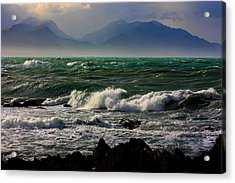 Acrylic Print featuring the photograph Rough Seas Kaikoura New Zealand by Amanda Stadther