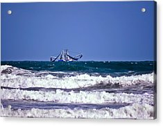 Acrylic Print featuring the photograph Rough Seas Shrimping by DigiArt Diaries by Vicky B Fuller