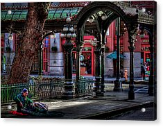 Rough Times In Seattle - The Pergola In Pioneer Square Acrylic Print by David Patterson