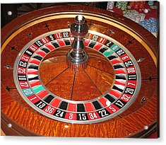 Roulette Wheel And Chips Acrylic Print by Tom Conway