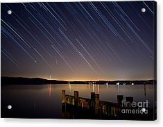 Round Bay Startrails And A Meteor Shower Acrylic Print by Benjamin Reed