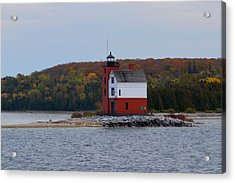 Round Island Lighthouse In Autumn Acrylic Print