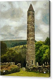 Acrylic Print featuring the painting Round Tower At Glendalough by Jeff Kolker