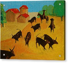 Round Up Of The Bulls 3 Painting By Bertram Poole Acrylic Print by Thomas Bertram POOLE
