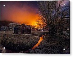 Round Fire Acrylic Print by Cat Connor