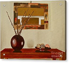 Acrylic Print featuring the painting Round Vase by Laura Forde