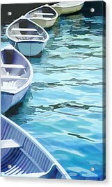 Rounded Row Of Rowboats Acrylic Print