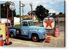 Route 66 - Gas Station With Watercolor Effect Acrylic Print by Frank Romeo