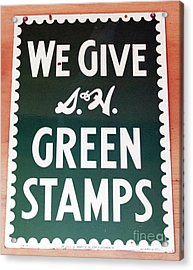 Route 66 Odell Il Gas Station Green Stamps Signage Acrylic Print by Thomas Woolworth
