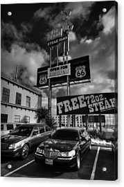Route 66 - The Big Texan 001 Bw Acrylic Print by Lance Vaughn
