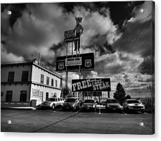 Route 66 - The Big Texan 002 Bw Acrylic Print by Lance Vaughn