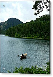 Acrylic Print featuring the photograph Row Boat At Dorena Lake  by Mindy Bench