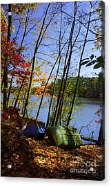 Acrylic Print featuring the photograph Row Boats Along Croton Reservoir - Ny by Rafael Quirindongo