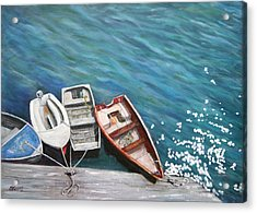 Acrylic Print featuring the painting Row Boats At Dock by Sandra Nardone