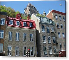 Row Houses In Quebec City Acrylic Print by Stella Sherman