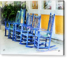 Row Of Blue Rocking Chairs Acrylic Print by Susan Savad