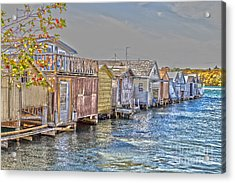 Row Of Boathouses Acrylic Print by William Norton