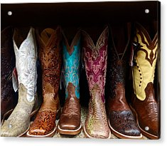 Row Of Cowboy Boots On Shelf Acrylic Print by Maggie Holguin / Eyeem