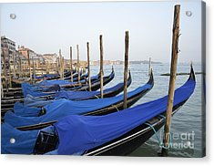 Row Of Empty Moored Gondolas Acrylic Print by Sami Sarkis