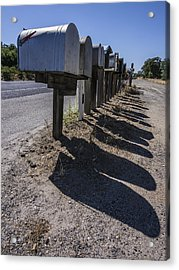 Row Of Mailboxes And Shadows Acrylic Print by David Litschel